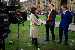 © Licensed to London News Pictures. 08/03/2017. London, UK. UKIP MP DOUGLAS CARSWELL (L) and Liberal Democrat leader TIM FARRON (R) debating during a television interview, outside The House of Parliament in London, on the day that  British chancellor Philip Hammond delivers his 2017 Budget to Parliament. Photo credit: Ben Cawthra/LNP