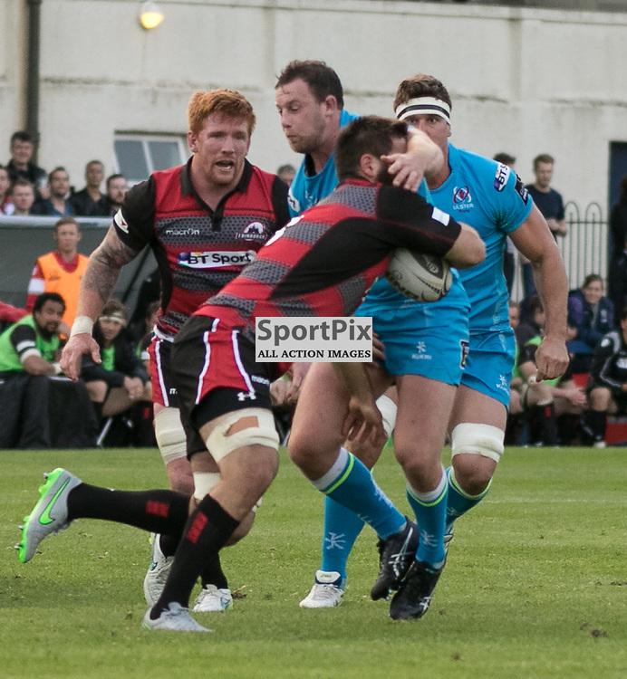 Edinburgh 8. Cornell DU PREEZ feels the effect of the Ulster defense. Edinburgh Rugby v Ulster Rugby, 28th August 2015
