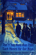 The 'Y' has more than 2000 such homes for our boys--United War Work Campaign, November 11-18 by Albert Herter, [1917].  World war I US poster  showing a group of soldiers approaching a warmly lit YMCA facility, through the snow, at night.