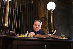 EDITORIAL USE ONLY Warwick Davis from the Harry Potter films attend the reveal of the original Gringotts Wizarding Bank at Warner Bros Studio Tour London, which opens to the public on Saturday 6th April.