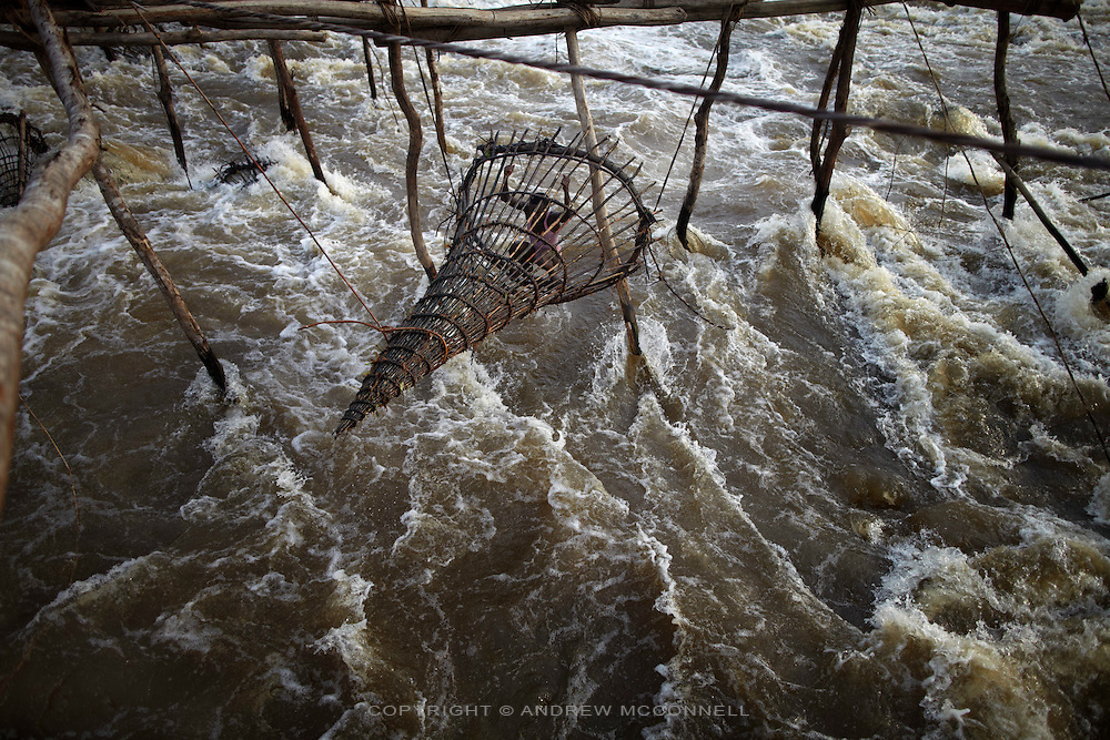 Fishermen check their bamboo nets at Wagenia Falls on the south bank of the river, near Kisangani, DR Congo. The south bank of the river consists of larger series of wooden scaffold stretching across a fast body of water.