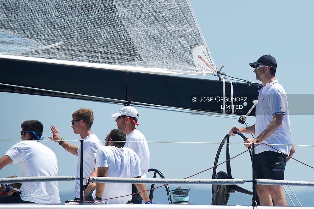 Prince Felipe of Spain participate at Sailing's 2013 Copa del Rey in Palma de Mallorca, Spain