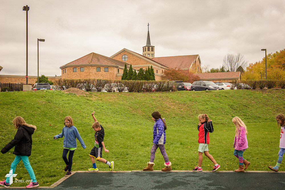 Students walk back to the classroom following time on the playground on Thursday, Oct. 27, 2016, at First Immanuel Lutheran School in Cedarburg, Wis. LCMS Communications/Erik M. Lunsford
