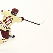 Danny Linell #10 of the Boston College Eagles takes a shot during The Beanpot Championship Game at TD Garden on February 10, 2014 in Boston, Massachusetts. (Photo by Elan Kawesch)