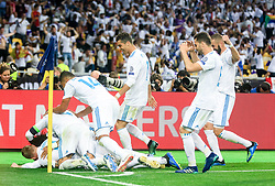 Players of Real Madrid celebrates after Gareth Bale scored first goal during the UEFA Champions League final football match between Liverpool and Real Madrid at the Olympic Stadium in Kiev, Ukraine on May 26, 2018.Photo by Sandi Fiser / Sportida