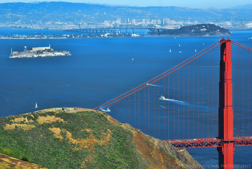 Alcatraz Island & Golden Gate Bridge