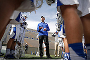 SHOT 2/18/17 1:41:02 PM - Air Force head lacrosse coach Eric Seremet addresses his players during a break in the action while playing against Marist College at Falcon Stadium at the Air Force Academy in Colorado Springs, Co. Marist won the game 10-4. Seremet is in his ninth season as the head coach for the Air Force lacrosse program.<br /> (Photo by Marc Piscotty / © 2017)