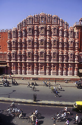 Hawa Mahal at Jaipur; India; with street scene in foreground,