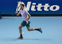 Tennis - 2017 Nitto ATP Finals at The O2 - Day Three<br /> <br /> Group Boris Becker Singles: Roger Federer (Switzerland) Vs Alexander Zverev (Germany)<br /> <br /> Roger Federer (Switzerland) runs across the base line to reach the ball at the O2 Arena<br /> <br /> COLORSPORT/DANIEL BEARHAM