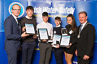 Dublin - Ireland, Tuesday 8th November 2016:<br /> Simon Coveney TD, Minister for Housing, Planning & Local Government with 'Seiko Just In Time Award' recipients Jack Carey, Kielan McDonagh, Dylan Murray<br /> and Nicole Bohan (Longford) and Martin O'Sullivan, Chairman of Irish Water Safety at the annual Irish Water Safety Awards held at Dublin Castle.  Photograph: David Branigan/Oceansport