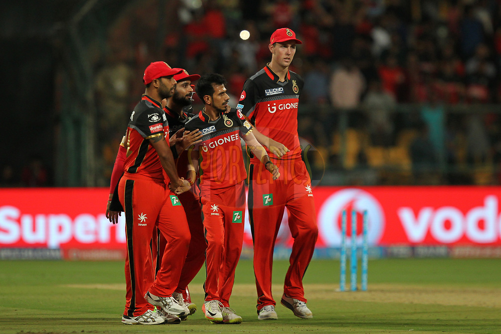 Yuzvendra Chahal of Royal Challengers Bangalore celebrates wicket of Carlos Barthwaite of Delhi Daredevils during match 5 of the Vivo 2017 Indian Premier League between the Royal Challengers Bangalore and the Delhi Daredevils held at the M.Chinnaswamy Stadium in Bangalore, India on the 8th April 2017Photo by Prashant Bhoot - IPL - Sportzpics