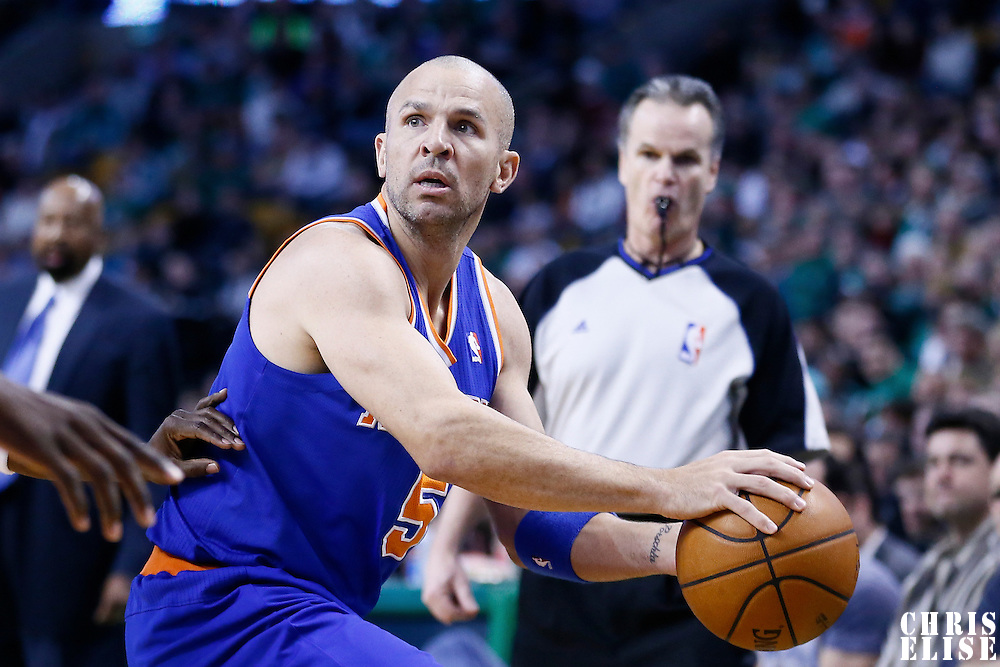 26 March 2013: New York Knicks point guard Jason Kidd (5) looks to pass the ball during the New York Knicks 100-85 victory over the Boston Celtics at the TD Garden, Boston, Massachusetts, USA.