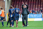 Craig Levein, manager of Heart of Midlothian salutes the fans at the end of the Ladbrokes Scottish Premiership match between Motherwell and Heart of Midlothian at Fir Park, Motherwell, Scotland on 15 September 2018.