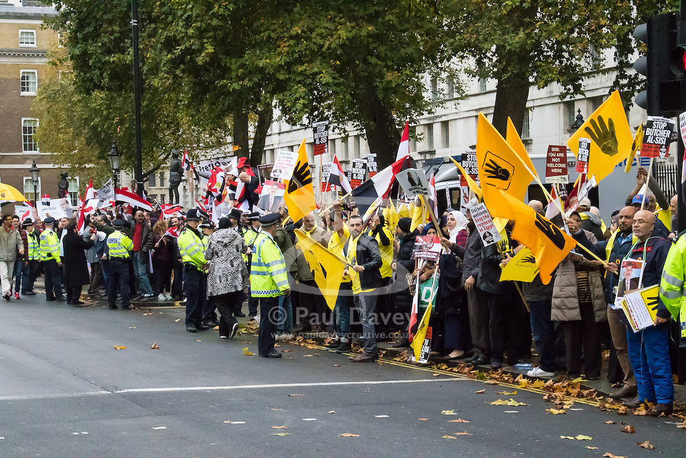 Whitehall, London, November 5th 2015. Pro Sisi demonstrators and counter protesters from UK Egyptian and human rights groups shout each other down outside Downing Street ahead of Egypt's President Abdel Fatah al-Sisi visiting Prime Minister David Cameron at No. 10. PICTURED: Pro-Morsi supporter with their yellow flags with Sisi's supporters carrying Egyptian flags in the background.