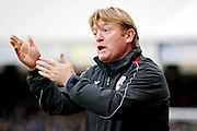Scunthorpe Manager Stuart McCall shouting orders during the EFL Sky Bet League 1 match between Peterborough United and Scunthorpe United at London Road, Peterborough, England on 1 January 2019.