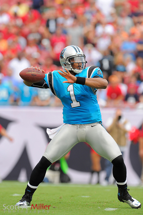 Carolina Panthers quarterback Cam Newton (1) looks to throw upfield against the Tampa Bay Buccaneers  at Raymond James Stadium  on September 9, 2012 in Tampa, Florida.  The Bucs won 16-10..©2012 Scott A. Miller...