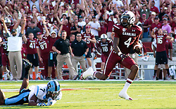 South Carolina Gamecock wide receiver, Shaq Roland, scores on 65 yard TD reception against North Carolina in 2013.