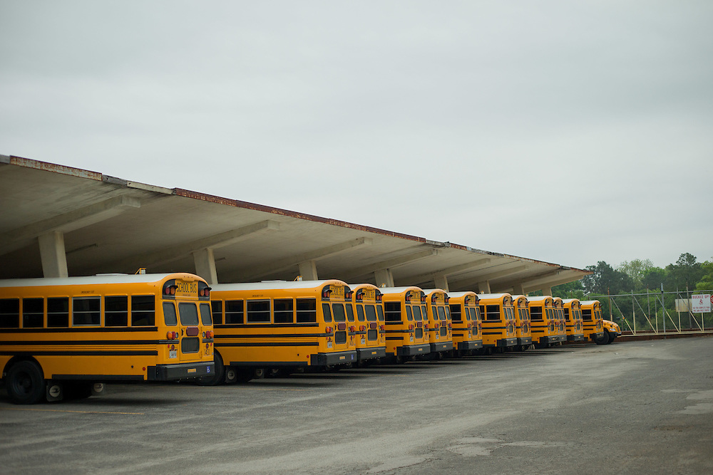 Propane-powered buses are parked at the Bibb County Board of Education Transportation Department, where buses are maintained and refueled, photographed on Wednesday, April 15, 2015 in Macon, Ga. Photo by Kevin Liles for The New York Times Photo by Kevin Liles for The New York Times
