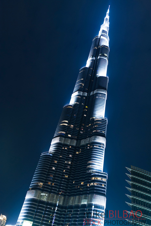 Burj Khalifa building at night. Jumeirah area. Dubai city.  Dubai. United Arab Emirates.