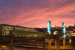 Chihuly Bridge of Glass at sunset, Tacoma, Washington, USA