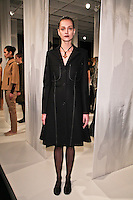 Model poses for F2012 Behnaz Serafpour's collection in Mercedes Benz fashion week in New York on Feb 10, 2012 NYC
