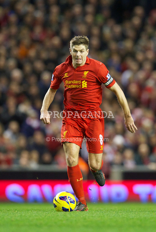 LIVERPOOL, ENGLAND - Wednesday, January 2, 2013: Liverpool's captain Steven Gerrard in action against Sunderland during the Premiership match at Anfield. (Pic by David Rawcliffe/Propaganda)