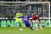 Anderlecht Midfielder Sofiane Hanni attacks the goal and Marcos Rojo Defender of Manchester United during the UEFA Europa League Quarter-final, Game 1 match between Anderlecht and Manchester United at Constant Vanden Stock Stadium, Anderlecht, Belgium on 13 April 2017. Photo by Phil Duncan.