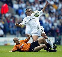 Photo. Aidan Ellis, Digitalsport<br /> Bloton Wanderers v Wolverhampton Wanderers.<br /> FA Barclaycard Premiership.<br /> 27/09/2003.<br /> Bolton's Youri Djorkaef and Wolves Alex Rae