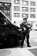 Recent years have seen an increase in heavily outfitted police officers in New York.