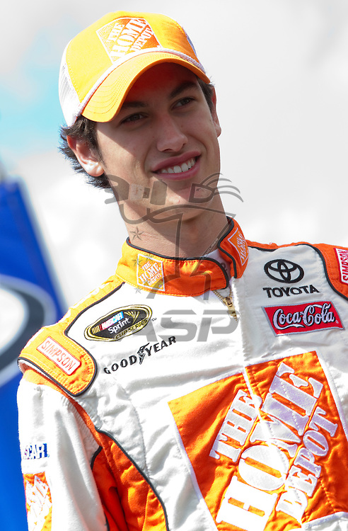 FONTANA, CA - MAR 27, 2011:  Joey Logano (20) before the start of the Auto Club 400 race at the Auto Club Speedway in Fontana, CA.