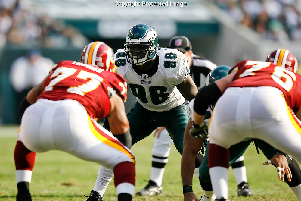 5 Oct 2008: Philadelphia Eagles linebacker Omar Gaither #96 during the game against the Washington Redskins on October 5th, 2008. The Redskins won 23-17 at Lincoln Financial Field in Philadelphia, Pennsylvania.
