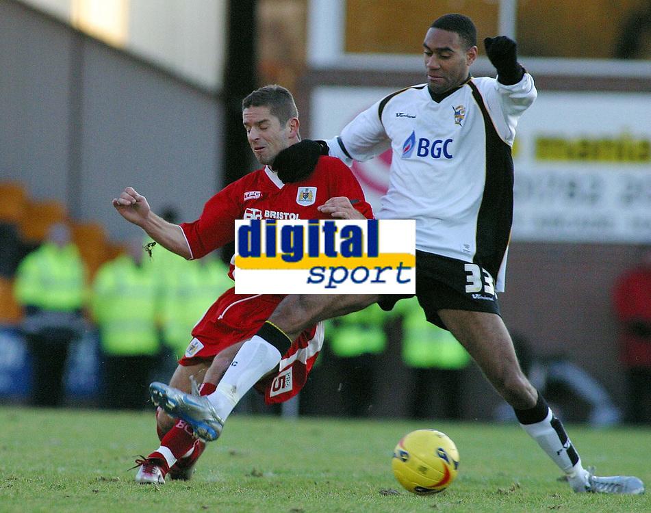 Photo: Paul Thomas.<br /> Port Vale v Bristol City. Coca Cola League 1. 17/12/2005.<br /> <br /> Bristol's Alex Russell gets tackled by Leon Constantine.