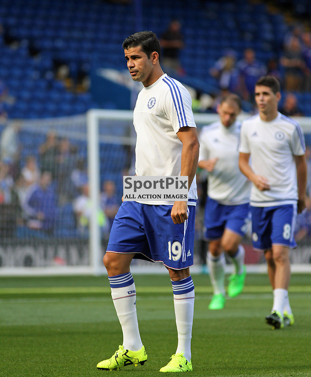 Diego Costa warms up before Chelsea vs Swansea on the 8th August 2015.
