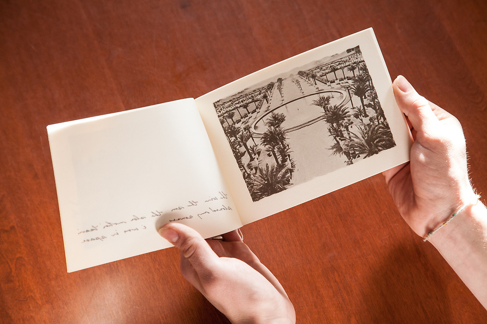 Atget's Gardens is a small artist's book telling the story of a visit to the gardens of Versailles. Features vellum pages with text overlaying image pages. Printed on a matte surface paper in warm tones to give the feel of platinum prints. Photographed in 1978, self published in 1980, printed at the Visual Studies Workshop. Signed, limited edition of 499 copies. Very few left.