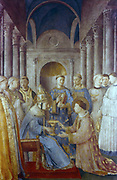 Fra Angelico (Guido di Pietro/Giovanni da Fiesole c1400-55) Italian painter. 'St Sixtus and his deacon St Lawrence' (Pope Sixtus II d258) Fresco. Chapel of Nicholas V, Vatican Palace
