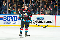 KELOWNA, CANADA - DECEMBER 1:  Nolan Foote #29 of the Kelowna Rockets stands on the ice against the Saskatoon Blades on December 1, 2018 at Prospera Place in Kelowna, British Columbia, Canada.  (Photo by Marissa Baecker/Shoot the Breeze)
