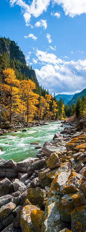 The Gallatin river flowing throught the canyon in the fall in Montana.  Limited Edition - 75
