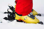 Backcountry skiers boots and binding, Grand Teton National Park, Wyoming USA