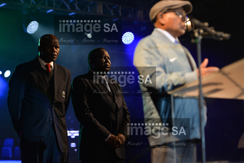 DURBAN, SOUTH AFRICA - JUNE 21: Aleck Skhosana (ASA president) and Hamad Kalkaba Malboum (CAA President) listen to Dr Sam Ramsamy as he opens the championships during the CAA 20th African Senior Championships Opening Ceremony at Growth Point Kings Park stadium on June 21, 2016 in Durban, South Africa. (Photo by Roger Sedres/Gallo Images)