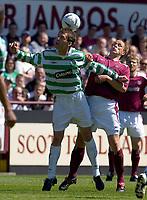 Hearts v Celtic, Scottish Premier League, Tynecastle Park, Edinburgh. Pic Shaun Dempsey, 15/05/2005<br /> Chris Sutton gets the better of Neil McFarlane