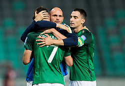 Rok Kronaveter of NK Olimpija, Aris Zarifovic of NK Olimpija and Branko Ilic of NK Olimpija celebrate after Kronaveter scored second goal for Olimpija during football match between NK Aluminij and NK Olimpija Ljubljana in the Final of Slovenian Football Cup 2017/18, on May 30, 2018 in SRC Stozice, Ljubljana, Slovenia. Photo by Vid Ponikvar / Sportida