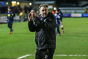 Forest Green Rovers assistant manager, Scott Lindsey applauds the fans at the end of the match during the EFL Sky Bet League 2 match between Forest Green Rovers and Stevenage at the New Lawn, Forest Green, United Kingdom on 13 February 2018. Picture by Shane Healey.