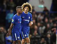 Football - 2017 / 2018 EFL (League) Cup - Third Round: Chelsea vs. Nottingham Forest<br /> <br /> Ethan Ampadu and Charly Musonda Jr of Chelsea exchange words after their debuts at Stamford Bridge.<br /> <br /> COLORSPORT/ANDREW COWIE