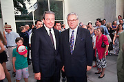 VENICE, ITALY..June 1993..45th Biennale of Venice.Austrian Pavillion opening party..From l.: Chancellor Franz Vranitzky,  Vice Chancellor Erhard Busek..(Photo by Heimo Aga)