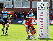 Adam Walker of Hull Kingston Rovers scores his teams 3rd try of the game during the First Utility Super League match at the KC Lightstream Stadium, Kingston upon Hull<br /> Picture by Richard Gould/Focus Images Ltd +44 7855 403186<br /> 25/05/2014