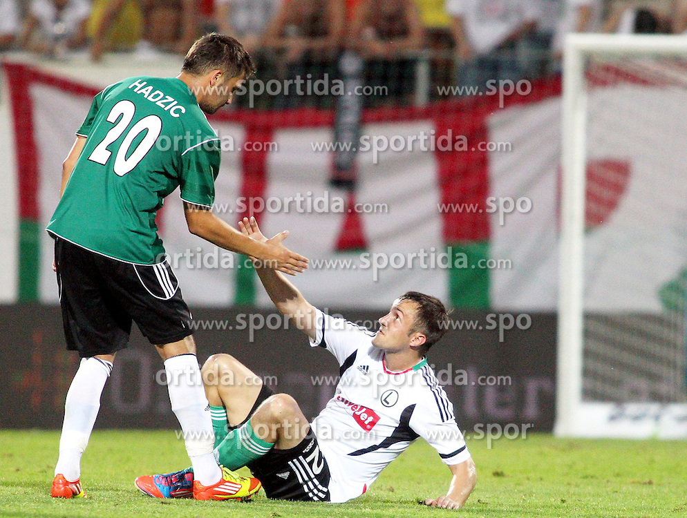 02.08.2012, Keine Sorgen Arena, Ried, AUT, UEFA EL, Hinspiel, SV Josko Ried (AUT) vs Legia Warschau (POL), im Bild Anel Hadzic, (SV Josko Ried, #20) und Miroslav Radovic, (Legia Warschau, #32) // during the UEFA Europa League 1st Leg Match between SV Josko Ried (AUT) and Legia Warsaw (POL) at the Keine Sorgen Arena, Ried, Austria on 2012/08/02. EXPA Pictures © 2012, PhotoCredit: EXPA/ Roland Hackl