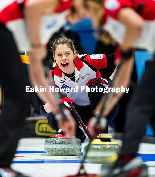 Switzerland's vice-skip Manuela Siegrist yells at her teammates, telling them to sweep during the semi-finals of Le Gruyère European Curling Championships 2017. Scotland defeated Switzerland 7-5 in the tenth end on Nov. 24th, 2017 in the Curling Center St. Gallen in St. Gallen, Switzerland.