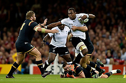 Leone Nakarawa of Fiji takes on the Wales defence - Mandatory byline: Patrick Khachfe/JMP - 07966 386802 - 01/10/2015 - RUGBY UNION - Millennium Stadium - Cardiff, Wales - Wales v Fiji - Rugby World Cup 2015 Pool A.