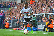 Fulham striker Floyd Ayite (11) in action during the EFL Sky Bet Championship match between Fulham and Aston Villa at Craven Cottage, London, England on 17 April 2017. Photo by Jon Bromley.