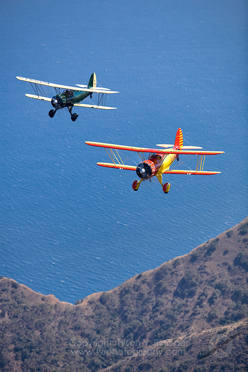 Photoshoot for PilotMag Magazine of two Waco Biplanes over Santa Catalina Island.